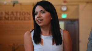 Guadalupe Guerrero, 25, speaking at a briefing for ethnic media on the benefits of citizenship at the Los Angeles Public Library in March.