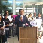 Assemblymember Rob Bonta speaks at a rally in Oakland on Wednesday in support of a health bill that state Senator Ricardo Lara plans to reintroduce in 2015. Photo courtesy of Assemblymember Bonta's office.