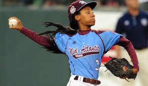 Aug 20, 2014; South Williamsport, PA, USA; Mid-Atlantic Region pitcher Mo'ne Davis (3) throws a pitch in the first inning against the West Region at Lamade Stadium. Mandatory Credit: Evan Habeeb-USA TODAY Sports - RTR435SV