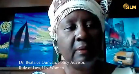 Black woman with text Dr. Beatrice Duncan, Policy Advisor, Rule of Law, UN Women