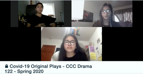 Three people with text Covd-19 Original Plays - CCC Drama 122- Spring 2020