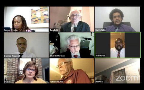 Screenshot of Zoom meeting showing eight people.