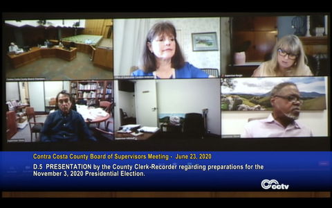 Screenshot from a virtual Board of Supervisors meeting