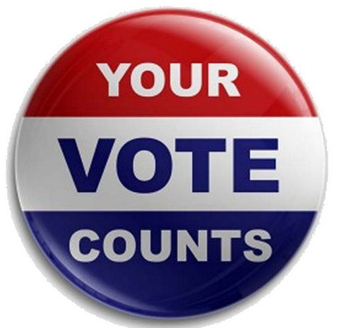 Red, white and blue button with the words Your Vote Counts