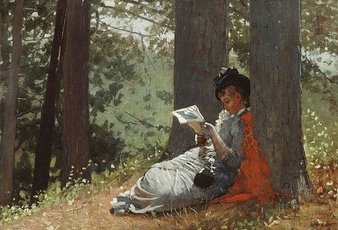 Painting of a woman sitting under a tree, reading a book.
