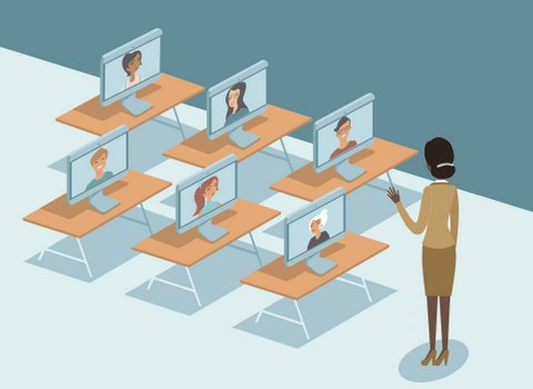 Illustration of teacher facing desks with computer monitors with students' faces on them