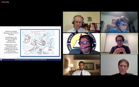 "Six people in a virtual meeting and a cartoon with airplane parts captioned ""We are rebuilding the plane while trying to fly it. We all have a piece."""