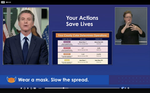 "Gavin Newsom, a sign language interpreter, and text that reads, in part, ""Your actions save lives"" and ""Wear a mask. Slow the spread."""