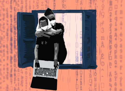 Illustration of a boy at an open window with a laptop being hugged from behind by a man.