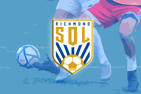 Richmond Sol logo over illustration of a soccer ball and two players' legs.