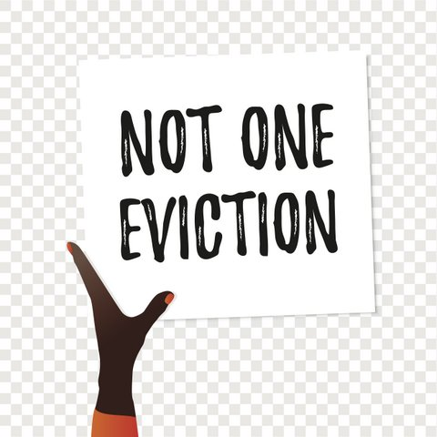 "Illustration of a Black hand with orange nail polish holding a sign that says ""Not one eviction."""