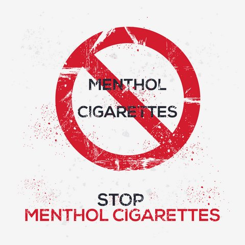"Red circle with line through the words ""menthol cigarettes"" above text that reads ""Stop menthol cigarettes."""