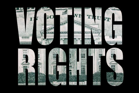 "The words ""voting rights"" in all capital letters with backgrounds that appear to come from U.S. currency."