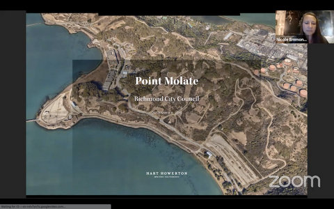 Aerial view of Point Molate land and photo in upper-right corner of woman in virtual meeting.