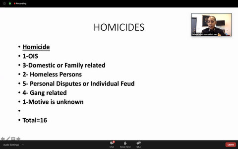 List that reads: Homicides; 1 OIS; 3 domestic or family related; 2 homeless persons; 5 personal disputes or individual feud; 4 gang related; 1 motive unknown; total 16