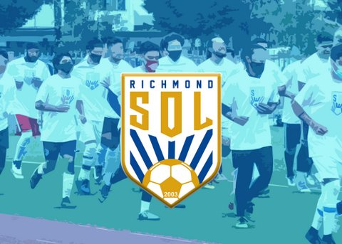 Illustration of men in masks running on a field overlaid with a shield logo that says Richmond Sol.