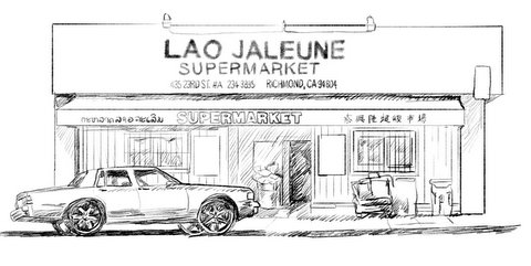 Sketch of Lao Jaleune Supermarket storefront at 435 23rd St. in Richmond.