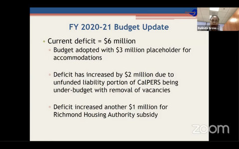 "Slide that reads: ""FY 2020-21 Budget Update. Current deficit = $6 million. Budget adopted with $3 million placeholder for accommodations. Deficit has increased by $2 million due to unfunded liability portion of CalPERS being under-budget with removal of vacancies. Deficit increased another $1 million for Richmond Housing Authority subsidy."""