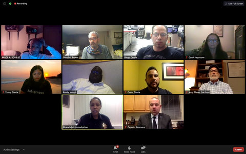 Ten people in a virtual meeting, each seen in a separate box.