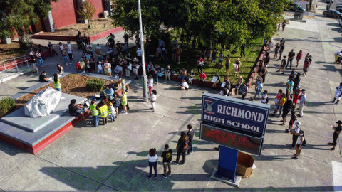 Overhead view of people outside Richmond High School.