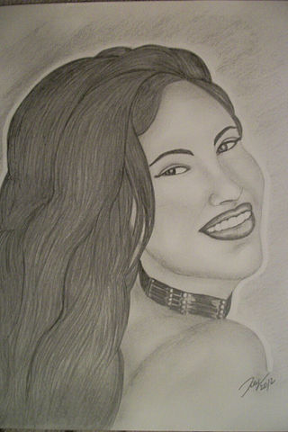 A black-and-white drawing of the singer Selena.