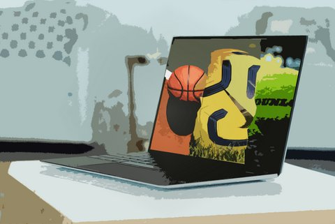 Illustration of a laptop with a basketball, soccer ball and tennis ball on the screen.