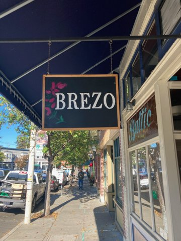 Brezo sign seen from the sidewalk