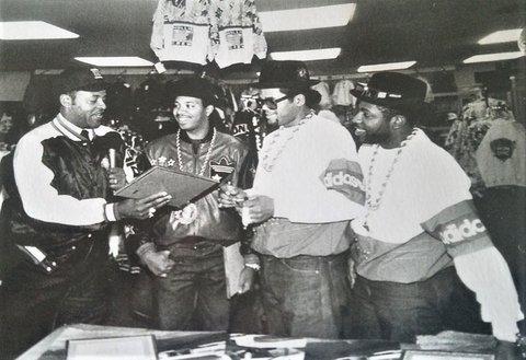 Black-and-white photo of Run-DMC