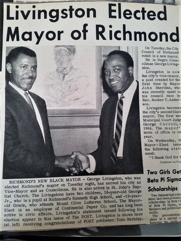 "Newspaper clipping with headline ""Livingston Elected Mayor of Richmond"" and black-and-white photo of George Livingston and Tom Berkley, two Black men, shaking hands"