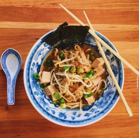 Bowl of ramen with tofu, seaweed, tofu and green onions