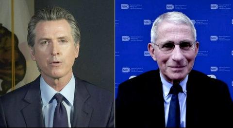 Split screen of Gov. Gavin Newsom and Dr. Anthony Fauci.