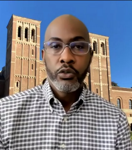 Black man with virtual UCLA background