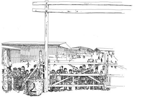 Drawing of people in a refugee camp standing behind a wooden fence