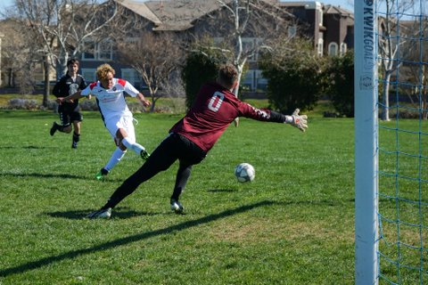 Soccer player shoots the ball as the goalie dives to his right.