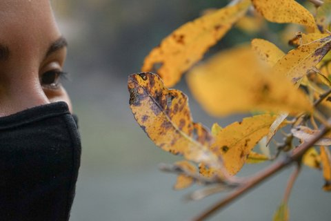 Close-up of woman in black mask looking at yellow leaves with brown spots