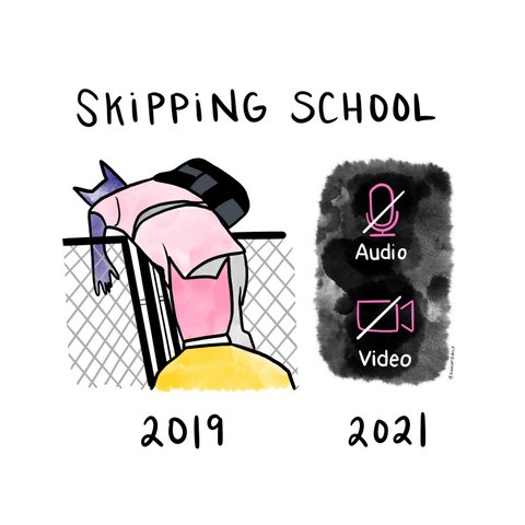 Illustration titled skipping school: climbing a fence in 2019; audio and video turned off in 2021