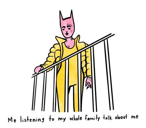 "Humanlike pink cat in yellow clothing looking over a railing. Caption says: ""Me listening to my whole family talk about me"""