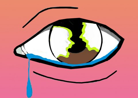 Illustration depicting two yelling people reflected in a crying eye