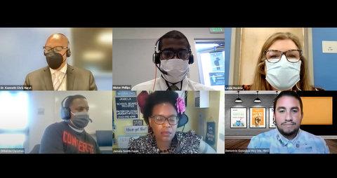 Six people in a virtual meeting