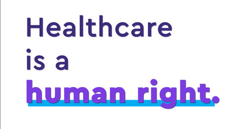 """Sign that says """"healthcare is a human right"""""""