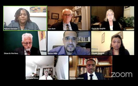 Eight people on Zoom in virtual meeting