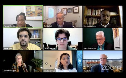 Nine people on Zoom in virtual meeting