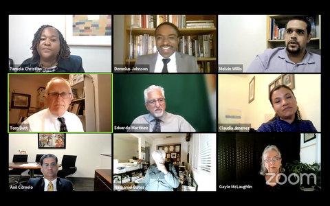 Nine people in virtual meeting