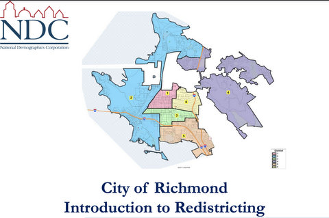 """Color-coded map by the National Demographics Corporation titled """"City of Richmond Introduction to Redistricting"""""""