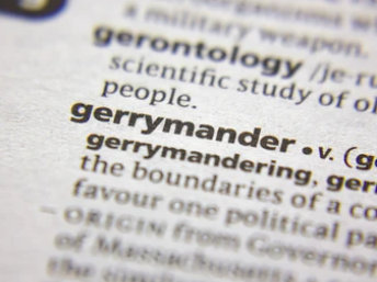 """Dictionary page zoomed in on the word """"gerrymander"""""""