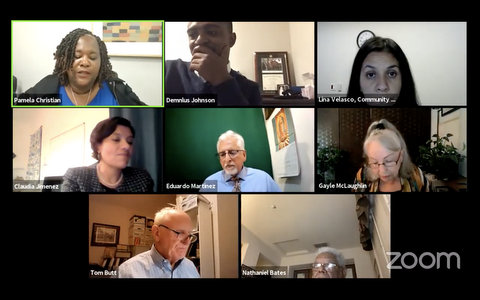 Eight people in a Zoom meeting