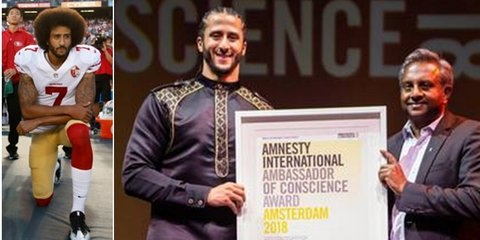 """Side by side photos of Colin Kaepernick kneeling and standing with another man holding something that says """"Amnesty International Ambassador of Conscience Award Amsterdam 2018"""""""