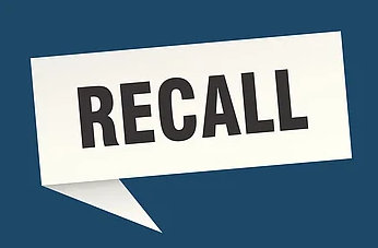 """The word """"recall"""" in a white speech bubble on a blue background."""
