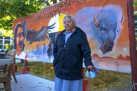 """An older Native American woman with a cane in front of a banner depicting a man, eagle and buffalo with the words """"support Native American sovereignty."""""""