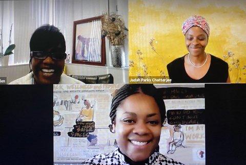 Three Black women in a virtual meeting